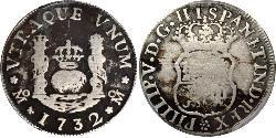1 Real 新西班牙總督轄區 (1535 - 1821) 銀 Philip V of Spain(1683-1746)