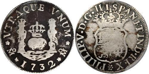 1 Real Vicereame della Nuova Spagna (1519 - 1821) Argento Filippo V di Spagna (1683-1746)