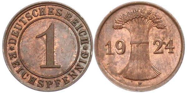 1 Reichpfennig / 1 Pfennig 魏瑪共和國 (1919 - 1933) 青铜