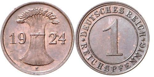 1 Reichpfennig / 1 Pfennig República de Weimar (1918-1933) Bronce