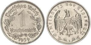 1 Reichsmark Alemania nazi (1933-1945) Níquel
