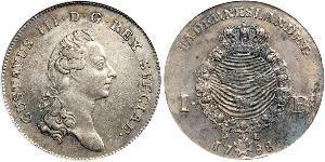 1 Riksdaler Швеция Серебро Густав III (1746 - 1792)
