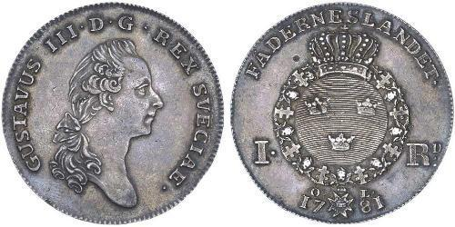 1 Riksdaler Suède Argent Gustave III de Suède (1746 - 1792)