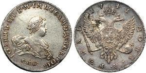 1 Ruble 俄罗斯帝国 (1721 - 1917) 銀 Ivan VI Antonovich (1740-1764)