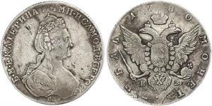 1 Ruble 俄罗斯帝国 (1721 - 1917) 銀 叶卡捷琳娜二世 (1729-1796)
