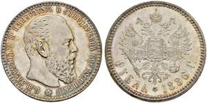 1 Ruble 俄罗斯帝国 (1721 - 1917) 銀 亚历山大三世 (俄国) (1845 -1894)