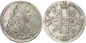 1 Ruble Russian Empire (1720-1917) Silver Peter II (1715-1730)