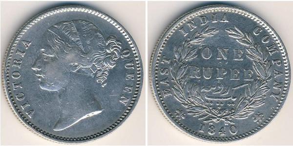 1 Rupee 不列颠东印度公司 銀 维多利亚 (英国君主)