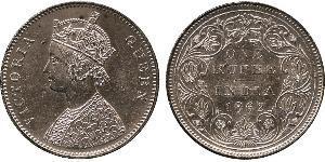 1 Rupee 英属印度 (1858 - 1947) 銀 维多利亚 (英国君主)