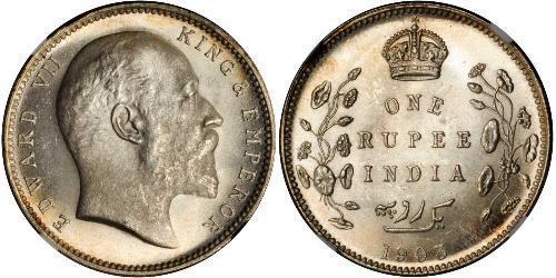 1 Rupee 英属印度 (1858 - 1947) 銀 爱德华七世 (1841-1910)