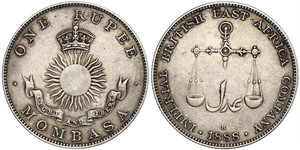 1 Rupee Empire britannique (1497 - 1949) Argent
