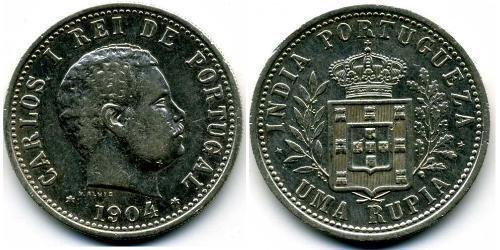 1 Rupee Inde portugaise (1510-1961) Argent Charles I de Portugal (1863-1908)