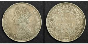 1 Rupee Raj britannique (1858-1947) Argent Victoria (1819 - 1901)