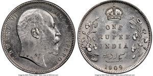 1 Rupee Raj britannique (1858-1947) Argent Édouard VII (1841-1910)