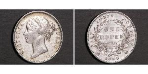 1 Rupee Compagnia Inglese delle Indie Orientali (1757-1858) Argento Vittoria (1819 - 1901)