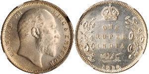 1 Rupee Raj Britannico (1858-1947) Argento Edoardo VII (1841-1910)