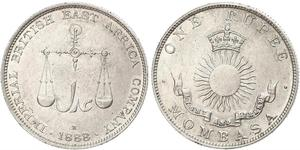1 Rupee Imperio británico (1497 - 1949) Plata