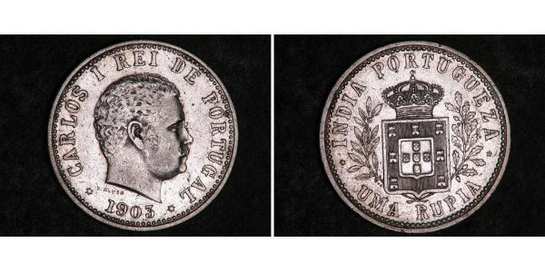 1 Rupee India portuguesa (1510-1961) Plata Carlos I de Portugal (1863-1908)