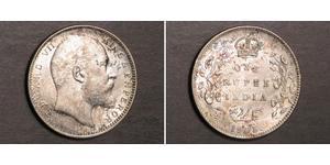 1 Rupee Raj Británico (1858-1947) Plata Eduardo VII (1841-1910)