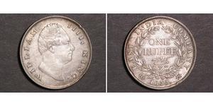 1 Rupee Raj Británico (1858-1947) Plata Guillermo IV (1765-1837)