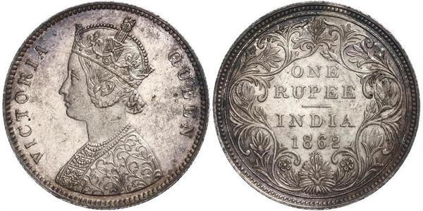 1 Rupee Raj Británico (1858-1947) Plata Victoria (1819 - 1901)