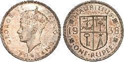 1 Rupee Mauritius Silber Georg VI (1895-1952)
