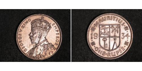 1 Rupee Mauritius Silber George V (1865-1936)