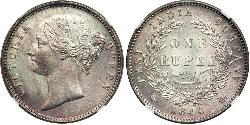 1 Rupee British East India Company (1757-1858) Silver Victoria (1819 - 1901)