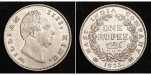 1 Rupee British Raj (1858-1947) Silver William IV (1765-1837)