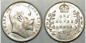 1 Rupee British Raj (1858-1947) Silver Edward VII (1841-1910)