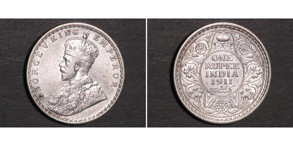 1 Rupee British Raj (1858-1947) Silver George V of the United Kingdom (1865-1936)