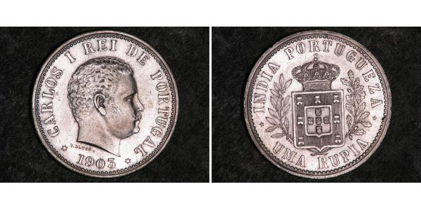 1 Rupee Portuguese India (1510-1961) Silver Carlos I of Portugal (1863-1908)
