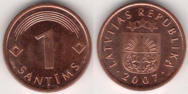 1 Santims Letonia (1991 - ) Níquel/Acero