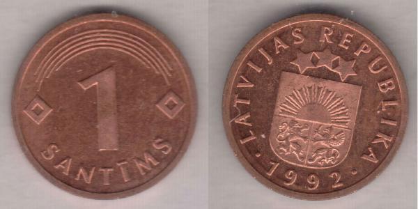 1 Santims Latvia (1991 - ) Steel/Nickel