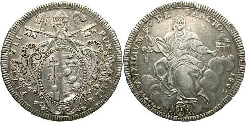 1 Scudo Stato Pontificio (752-1870) Argento Papa Pio VII  (1742 -1823)