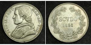 1 Scudo États pontificaux (752-1870)  Pie IX (1792- 1878)
