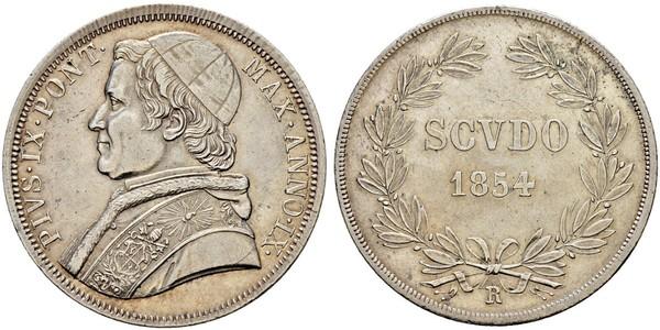1 Scudo 教皇国 (754 - 1870)  Pope Pius IX (1792- 1878)