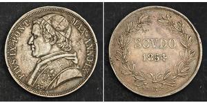 1 Scudo Stato Pontificio (752-1870)  Papa Pio IX (1792- 1878)