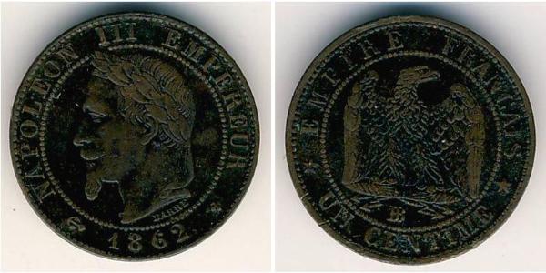 1 Sent Segundo Imperio francés (1852-1870) Cobre Napoleon III (1808-1873)