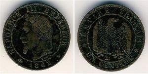 1 Sent Second French Empire (1852-1870) Copper Napoleon III (1808-1873)