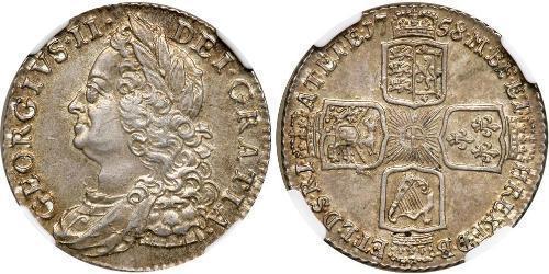 1 Shilling 大不列顛王國 (1707 - 1800) 銀 乔治二世 (大不列颠) (1683 - 1760)