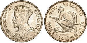 1 Shilling Nouvelle-Zélande Argent George V (1865-1936)