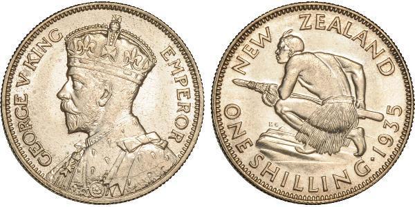 1 Shilling Nuova Zelanda Argento Giorgio V (1865-1936)