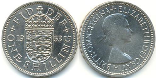 1 Shilling Reino Unido (1922-) Níquel/Cobre Isabel II (1926-)