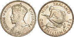 1 Shilling Nueva Zelanda Plata Jorge V (1865-1936)