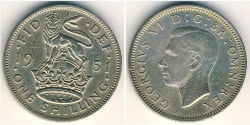 1 Shilling Regno Unito (1922-) Rame/Nichel Giorgio VI (1895-1952)