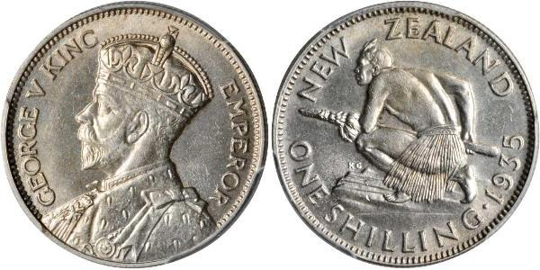 1 Shilling New Zealand Silver George V of the United Kingdom (1865-1936)