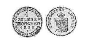 1 Silbergroschen Ангальт-Бернбург (1603 - 1863) Серебро Александр Карл ,герцог Ангальт-Бернбурга,(1805 – 1863)