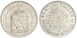 1 Silbergroschen Ангальт-Бернбург (1603 - 1863) Срібло Alexander Karl, Duke of Anhalt-Bernburg (1805 – 1863)