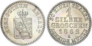 1 Silbergroschen Anhalt-Bernburg (1603 - 1863) 銀 Alexander Karl, Duke of Anhalt-Bernburg (1805 – 1863)